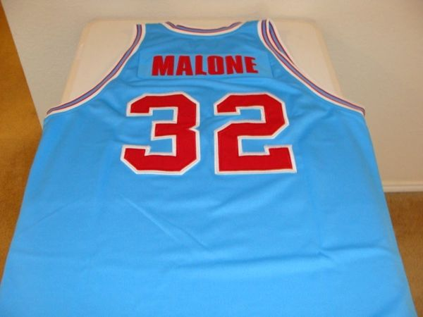 designer fashion 6727b 49511 #32 KARL MALONE Louisiana Tech Bulldogs NCAA Forward Blue Throwback Jersey