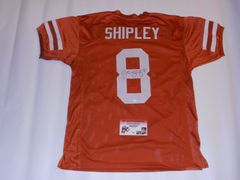 #8 JORDAN SHIPLEY Texas Longhorns NCAA WR/RS Orange Throwback Jersey AUTOGRAPHED