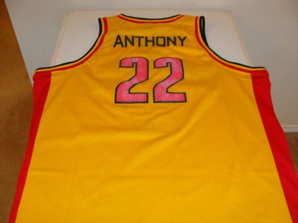 the latest a0700 d495e #22 CARMELO ANTHONY Oak Hill Academy Forward Yellow Throwback Jersey