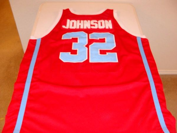 #32 EARVIN JOHNSON Everett H.S. Vikings Guard Red Throwback Jersey