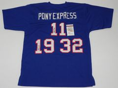 #11/19/32 PONY EXPRESS SMU Mustangs NCAA Backfield Blue Throwback Jersey AUTOGRAPHED