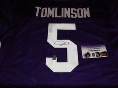 #5 LaDAINIAN TOMLINSON TCU Horned Frogs NCAA RB Purple Throwback Jersey AUTOGRAPHED