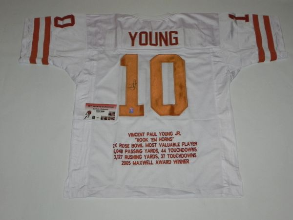#10 VINCE YOUNG Texas Longhorns NCAA QB White Stats Throwback Jersey AUTOGRAPHED