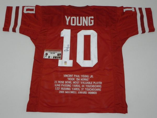 #10 VINCE YOUNG Texas Longhorns NCAA QB Orange Stats Throwback Jersey AUTOGRAPHED