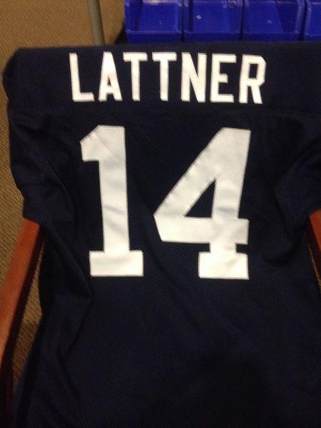 #14 JOHNNY LATTNER Notre Dame Irish NCAA RB Blue Throwback Jersey AUTOGRAPHED