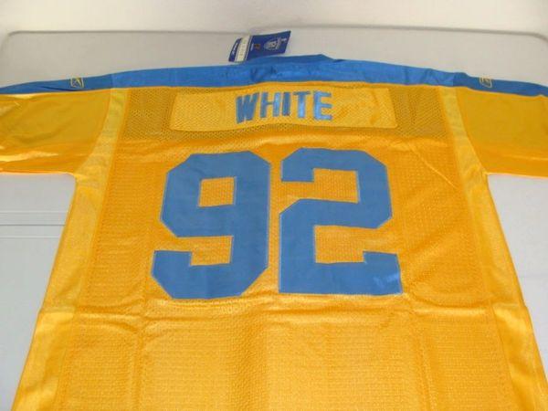 best website 38ee8 768e8 #92 REGGIE WHITE Philadelphia Eagles NFL DE Yellow/Blue Mint Throwback  Jersey