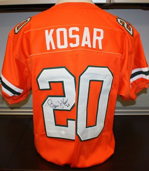 new product 98934 bb30c #20 BERNIE KOSAR Miami Hurricanes NCAA QB Orange Throwback Jersey  AUTOGRAPHED