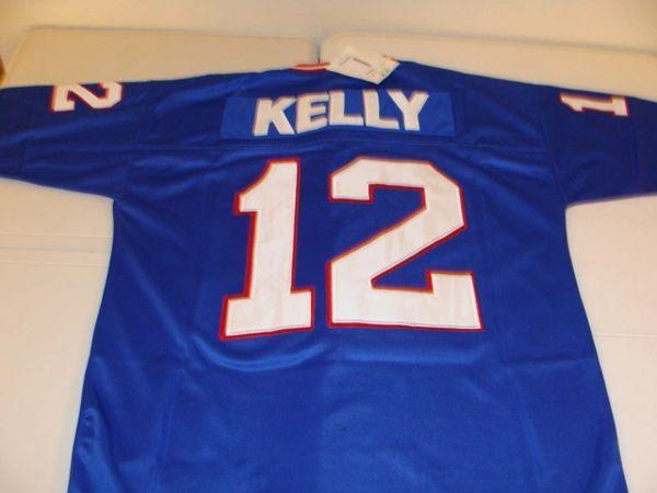 pretty nice 8fa74 5b672 #12 JIM KELLY Buffalo Bills NFL QB Blue Mint Throwback Jersey