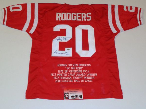 #20 JOHNNY RODGERS Nebraska Cornhuskers NCAA RB/RS Red Stats Throwback Jersey AUTOGRAPHED