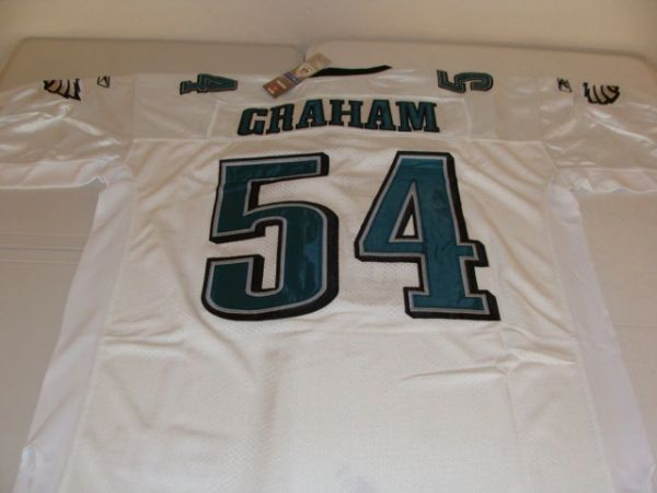 #54 BRANDON GRAHAM Philadelphia Eagles NFL DE/LB White Mint Throwback Jersey