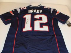 #12 TOM BRADY New England Patriots NFL QB Blue Throwback Jersey AUTOGRAPHED