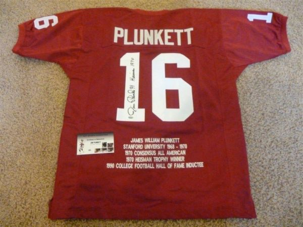 #16 JIM PLUNKETT Stanford Cardinal NCAA QB Red Stats Throwback Jersey AUTOGRAPHED