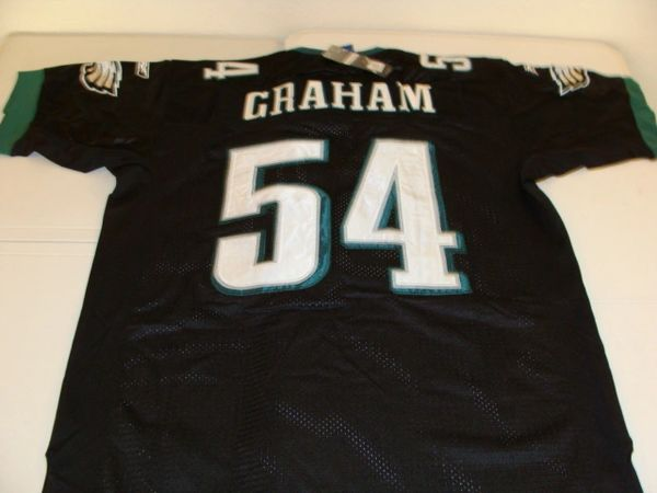 new style d09c3 1a6db #54 BRANDON GRAHAM Philadelphia Eagles NFL DE/LB Black Mint Throwback Jersey