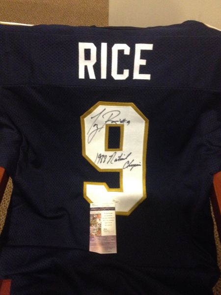 #9 TONY RICE Notre Dame Irish NCAA QB Blue Throwback Jersey AUTOGRAPHED