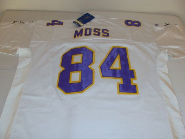 online store de851 55abc #84 RANDY MOSS Minnesota Vikings NFL WR White Rbk Mint Throwback Jersey