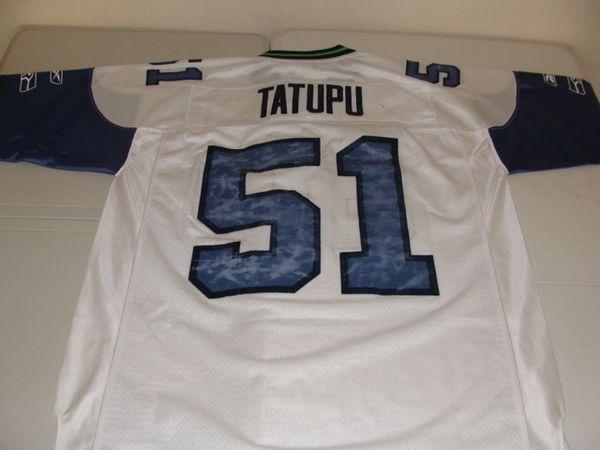 #51 LOFA TATUPU Seattle Seahawks NFL LB White Throwback Jersey