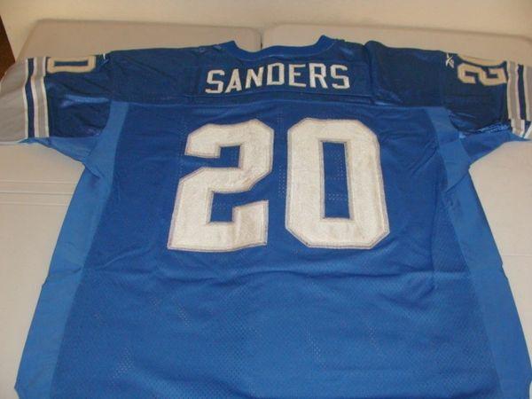 #20 BARRY SANDERS Detroit Lions NFL RB Blue Rbk PL Throwback Jersey