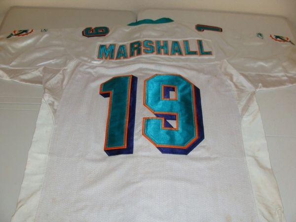 #19 BRANDON MARSHALL Miami Dolphins NFL WR White Throwback Jersey