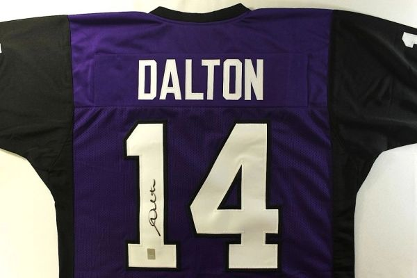 #14 ANDY DALTON TCU Horned Frogs NCAA QB Purple/Black Throwback Jersey AUTOGRAPHED