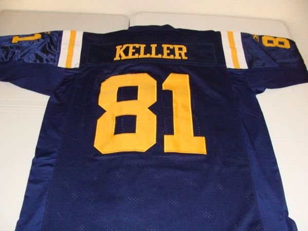 #81 DUSTIN KELLER New York Jets/Titans NFL TE Blue Throwback Jersey
