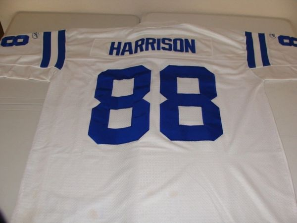 #88 MARVIN HARRISON Indianapolis Colts NFL WR White Throwback Jersey