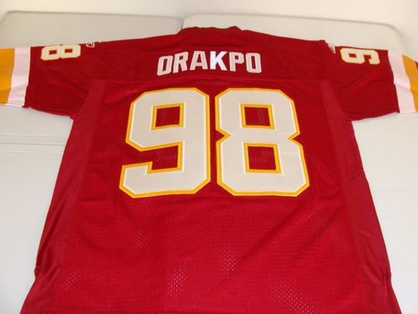 #98 BRIAN ORAKPO Washington Redskins NFL LB Red Throwback Jersey