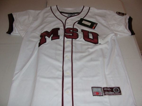 #10 MISSISSIPPI STATE Bulldogs NCAA Baseball White Mint Throwback Team Jersey