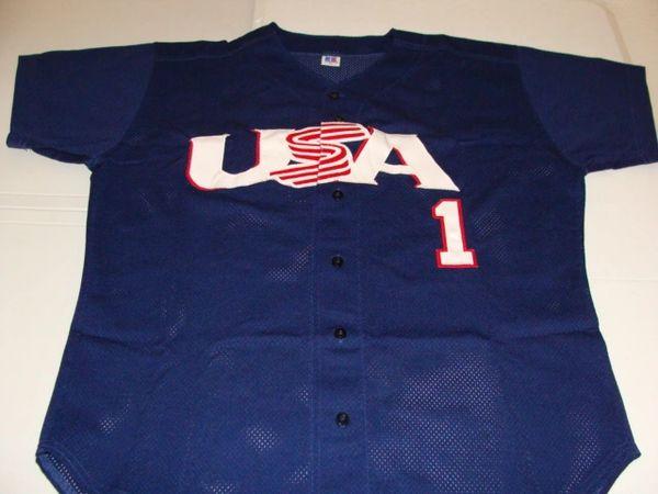 #1 Team USA Baseball Olympics/WBC Blue Throwback Jersey