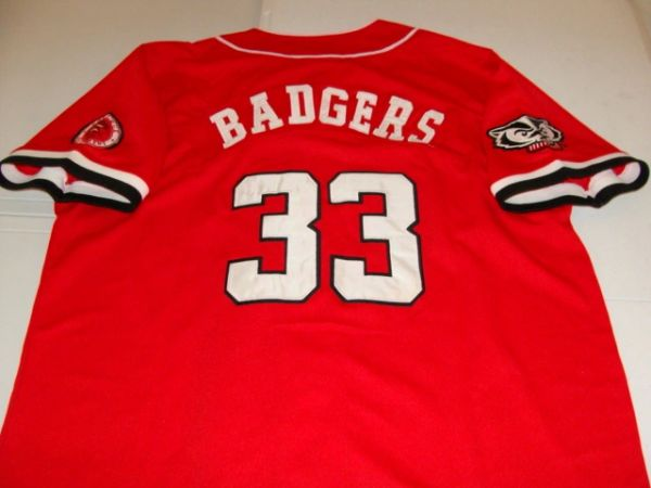 #33 WISCONSIN Badgers NCAA Baseball Red Throwback Team Jersey
