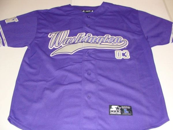 #03 WASHINGTON Huskies NCAA Baseball Purple Throwback Team Jersey