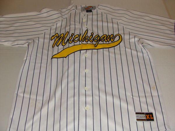 MICHIGAN Wolverines NCAA Baseball White PS Throwback Team Jersey