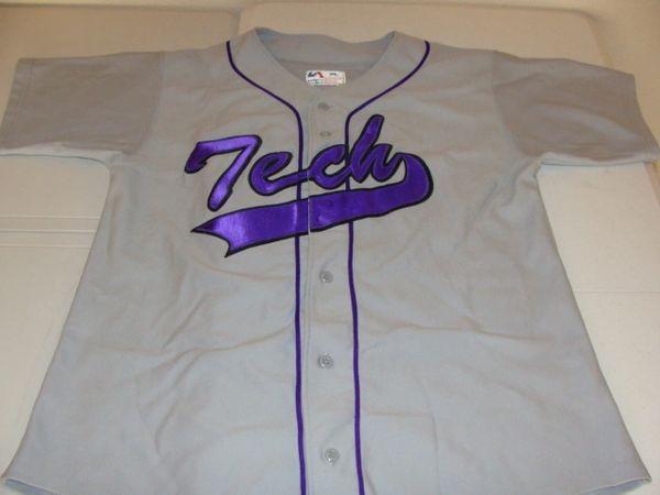 #13 TECH Baseball Grey Throwback Team Jersey