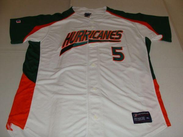 #5 MIAMI Hurricanes NCAA Baseball White Throwback Jersey