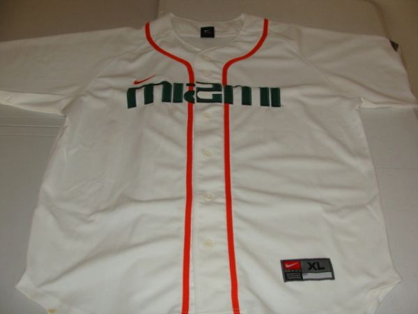 MIAMI Hurricanes NCAA Baseball White Throwback Team Jersey