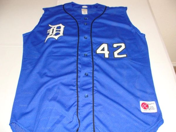 uk availability 2ce6b f7db8 #42 DUKE Blue Devils NCAA Baseball Blue Throwback Vest Jersey
