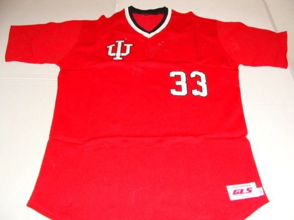 #33 INDIANA Hoosiers NCAA Baseball Red Throwback Jersey