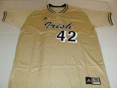 #42 NOTRE DAME Fighting Irish NCAA Baseball Gold Throwback Jersey