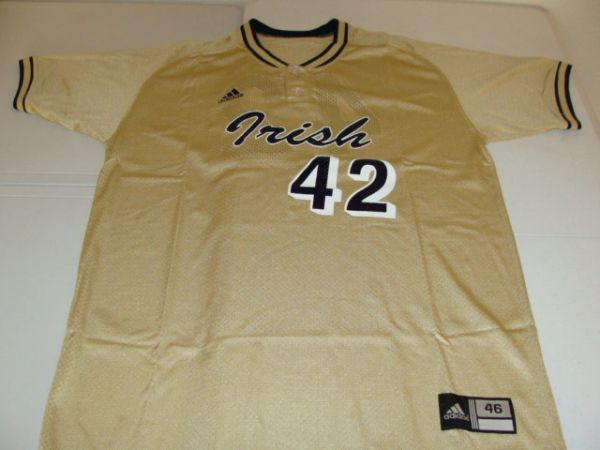 #42 NOTRE DAME Fighting Irish NCAA Baseball Gold Throwback Jersey