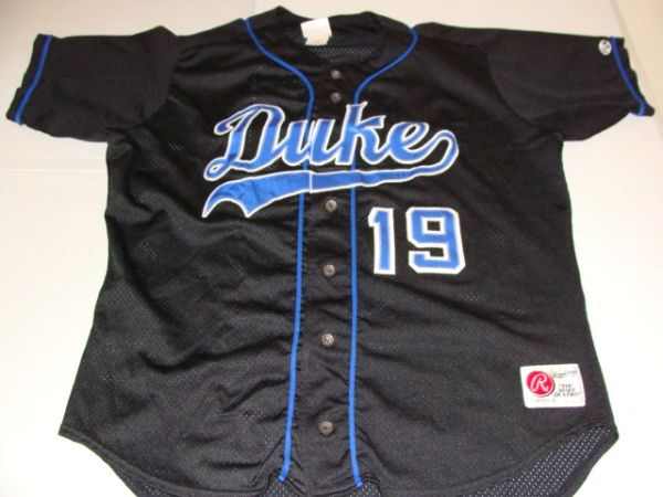 timeless design 0d363 25ada #19 DUKE Blue Devils NCAA Baseball Black Throwback Jersey