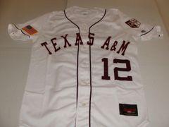 #12 TEXAS A&M Aggies NCAA Baseball White Throwback Jersey
