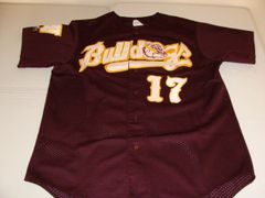 #17 AW/WA Bulldogs Baseball Dark Red Throwback Jersey