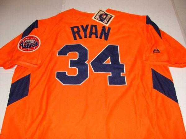 #34 NOLAN RYAN Houston Astros MLB Pitcher Orange Mint Throwback Jersey