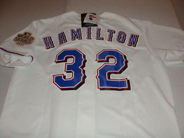 #32 JOSH HAMILTON Texas Rangers MLB OF White 2011 WS Mint Throwback Jersey