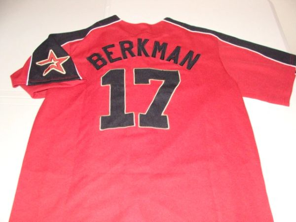 #17 LANCE BERKMAN Houston Astros MLB OF/1B Red Throwback Jersey