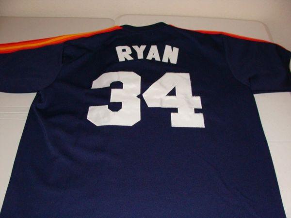 #34 NOLAN RYAN Houston Astros MLB Pitcher Blue Throwback Jersey