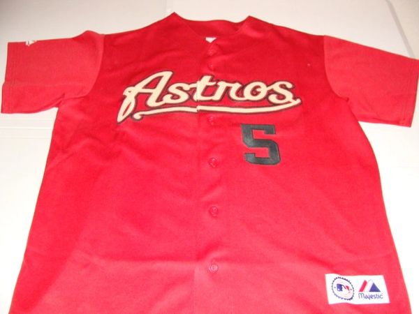 #5 JEFF BAGWELL Houston Astros MLB 1B Red Throwback Jersey