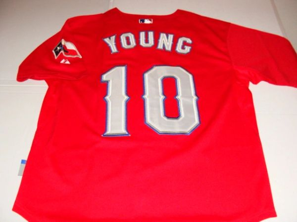 #10 MICHAEL YOUNG Texas Rangers MLB Infielder Red w/Flag Throwback Jersey