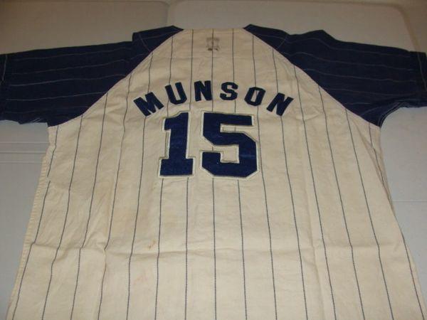 finest selection 1e425 399f3 #15 THURMAN MUNSON New York Yankees MLB Catcher Cream/Blue PS Throwback  Team Jersey