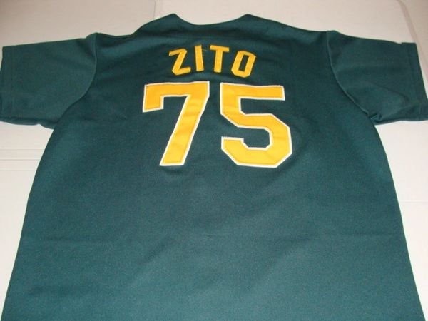 size 40 ebd91 765f3 #75 BARRY ZITO Oakland Athletics MLB Pitcher Green Throwback Jersey