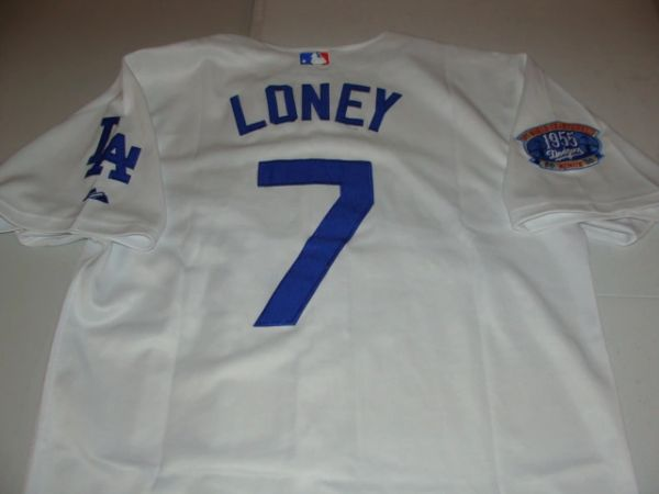 check out 83ae4 d3da3 #7 JAMES LONEY Los Angeles Dodgers MLB 1B White Throwback Jersey